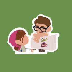 New Sticker, Logo Sticker, Sticker Design, Disney Up, Disney Couples, Walt Disney, Up Carl Y Ellie, Dibujos Baby Shower, Up Pixar