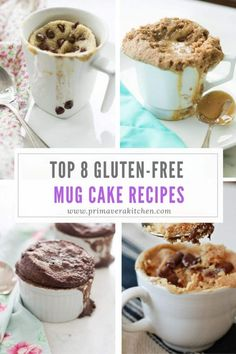Top 8 Gluten-Free Mug Cake Recipes - These Top 8 Gluten-free Mug Cake recipes are delicious, moist, fluffy and healthy, making them perfect foran afternoon snack. They are super easy to make and ready in only 3 minutes. Gluten Free Mug Cake, Gluten Free Sweets, Gluten Free Baking, Gluten Free Recipes, Gluten Free Brownie In A Mug, Paleo Mug Cake, Mug Recipes, Easy Cake Recipes, Dessert Recipes