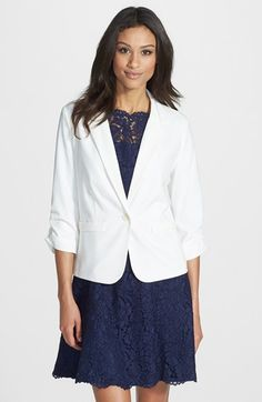 Eliza J Ruched Sleeve Blazer available at #Nordstrom