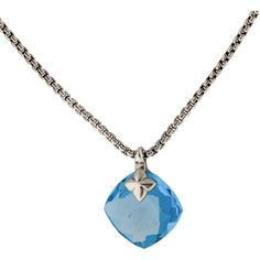Pre-owned David Yurman Cushion On Point Topaz and Diamond Pendant... ($845) ❤ liked on Polyvore featuring jewelry, necklaces, accessories, blue, topaz necklace, topaz pendant, blue topaz pendant, diamond pendant and david yurman necklace