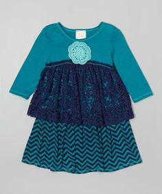 Another great find on #zulily! Pink Vanilla Navy & Teal Lace-Detail Tiered Dress - Toddler & Girls by Pink Vanilla #zulilyfinds