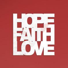 """Painel de parede """"Hope Faith Love"""" R$192.00"""