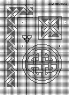 A. Celtic: key pattern geometric border (15 high with 24 repeat) B. Celtic: key pattern geometric square panel (27 by 27) pattern from the Lindisfarne Gospels C. Celtic knotwork: trefoil knot (10 high by 11 wide) D. Celtic knotwork: single band circular knotwork panel (45 by 45) pattern from a stone carving in Meigle, Perthshire