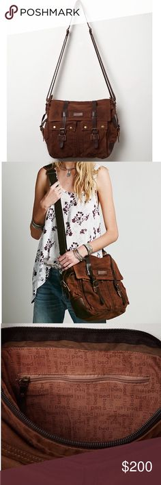 FREE PEOPLE Bag Distressed Backpack Large Book Bag One size.  New with tags.  $135 Retail + Tax.  • Lightly distressed washed canvas messenger bag featuring real leather accents. • Adjustable Crossbody strap with carrying handle, 2 front utility pockets & dual flap zipper closure.  • Interior is lined and has one zip back wall pocket.   By Bed Stu for Free People. Imported.    {Southern Girl Fashion - Closet Policy}   ✔Bundle discount: 20% off 2+ items.   ✔️ Reasonable offers are considered…