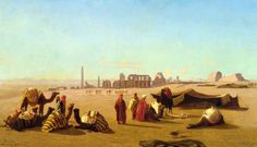 A Caravan at rest, the temple of Karnak, Thebes. Charles Théodore Frère ( French,1814-1888)