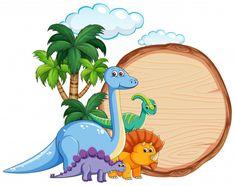 Many dinosaur on wooden banner illustration Illustration , Dinosaur Cake Toppers, Dinosaur Birthday Cakes, Die Dinos Baby, Baby Dinosaurs, Dinosaur Mask, Dinosaur Images, Drawing For Kids, Cute Art, Vector Art