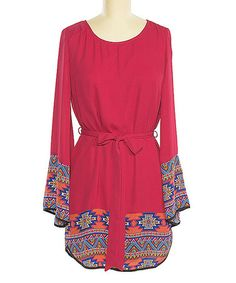 Look what I found on #zulily! Magenta & Royal Tribal-Trim Scoop Neck Dress #zulilyfinds