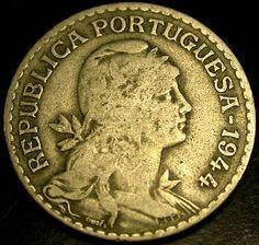 1944 PORTUGAL 1 Escudo Coin HYPER SCARCE SUPER KEY DATE COIN!