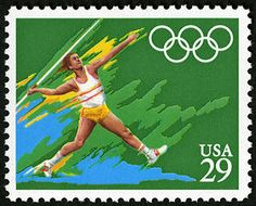Part of the Track and Field events, the javelin throw was honored on this 1992 Summer Olympics Issue stamp.