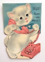 Norcross Vintage Birthday Card Pink Rotary Telephone Flocked White Kitty Cat A+