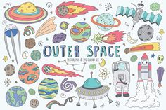 Space Doodles Cute Clip Art Set by Kenna Sato Designs on @creativemarket