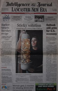 Stink Bug Trap on Front Page of Lancaster New Era Newspaper.  This trap was a life saver