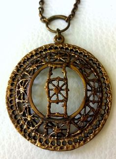 Finland Pentti Sarpaneva Vintage Big Bronze Pitsi Pendant with Chain #SarpanevaJewelry