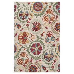 Surya Centennial Rectangular Multicolor Floral Wool Area Rug (Common: 5-Ft x 8-Ft; Actual: 60-in x 96-in)