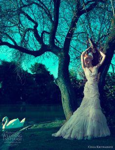 Beautiful long chiffon wedding gown by Celia Kritharioti