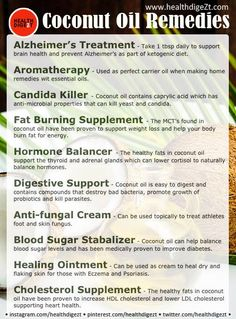 Coconut Oil Remedies www.healthdigeZt.com  #health #diet #beauty #nutrition #exercise #food #new #homeremedies #wellness #fitness