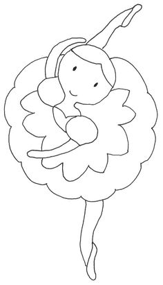 Pattern for ballerina. Applique Templates, Applique Patterns, Applique Designs, Quilt Patterns, Embroidery Designs, Colouring Pages, Coloring Books, Quilting, Sewing Appliques