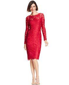 e55ae50df20 Adrianna Papell Long-Sleeve Illusion Lace Sheath - Dresses - Women - Macy's  Στενά Φορέματα