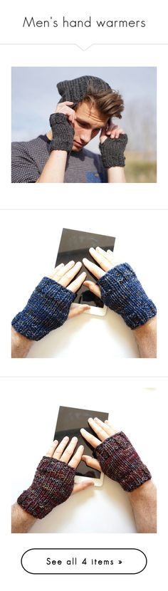 """Men's hand warmers"" by valeriebaberdesigns ❤ liked on Polyvore featuring men's fashion, men's accessories, men's gloves, mens gray leather gloves, mens grey leather gloves, mens gloves and mens fingerless gloves"