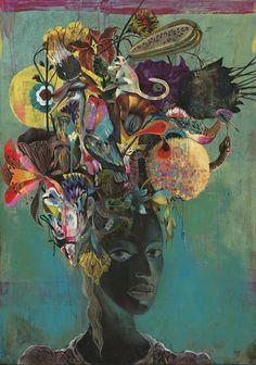 """Black Paradise"" 100x80cm, Acylic on Wood, Whatiftheworld Gallery Cape Town Olaf Hajek"