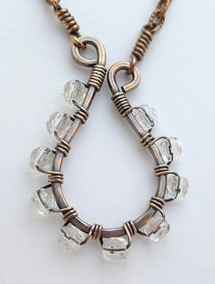 Tophatter : Copper Swirl Necklace with Clear Czech Glass Beads