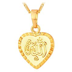 Gold Plated Mulsim Jewelry Allah Heart Pendant Necklace For Women Lover Gift. Heart Shape + Allah name. Small heart pendant: inches, with a adjustable chain. Heart Pendant Necklace, Men Necklace, Pendant Jewelry, Heart Necklaces, Heart Jewelry, Jewelry Sets, Women Jewelry, Fashion Jewelry, Arabic Jewelry