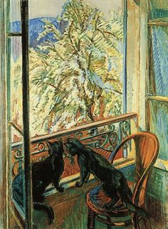 Cats by the Window - Nicolas Tarkhoff 1909 Russian Oil on canvas Musée du Petit Palais - Geneva (Switzerland - Geneva) Art And Illustration, Illustrations, Black Cat Art, Black Cats, Photo D Art, Inspiration Art, Love Art, Painting & Drawing, Oil On Canvas