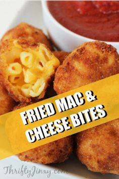 This Fried Macaroni and Cheese Bites Recipe is perfect as a party appetizer or a game day snack. It's gooey and cheesy on the inside and crispy and crunchy on the outside. Make them in a skillet, deep fryer or air fryer. Game Day Snacks, Easy Snacks, Easy Desserts, Finger Food Appetizers, Appetizer Recipes, Finger Foods, Fried Macaroni And Cheese, Deep Fried Recipes, Mac And Cheese Bites
