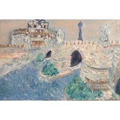 Lia Del Torto, Oil Painting on Canvas, Impressionistic Plain Air Saint Angel Castle Signed by Italian Street Artist