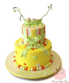 Sleeping Baby Pea Pod Cake by Pink Cake Box in Denville, NJ.