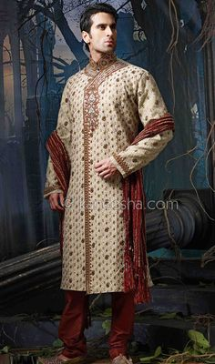 Beige Jacquard  Embellished  Sherwani Price: Usa Dollar $249, British UK Pound £146, Euro182, Canada CA$266 , Indian Rs13446.