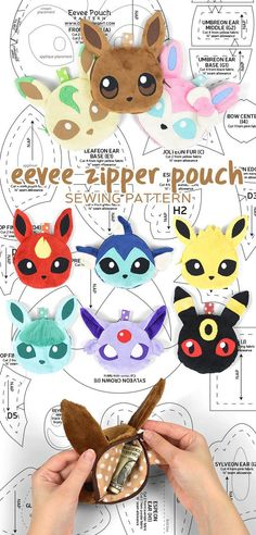 Eevee Evolution Zipper Pouch Sewing Pattern by SewDesuNe.deviantart.com on @DeviantArt