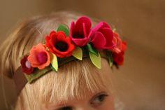 Fuschia - Flower Fairy Crown - Felted Wool Headband