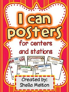 "Make your life so much easier with these editable ""I Can"" posters for your centers or stations time. There are 4 different posters for each center ready for you to personailze. That's 68 different ""I Can"" posters for you to choose from!! This file is saved as a PowerPoint file making it easy for you to add text boxes, clip art or graphics to make the posters your own! $"