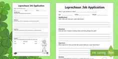 Search for Primary Resources, teaching resources, activities Primary Resources, Teaching Resources, Application Writing, Paddys Day, Activity Sheets, Writing Activities, Leprechaun, Student, 19th Century