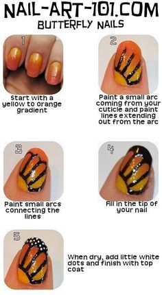 monarch butterfly nail art looks easy prob not Love Nails, How To Do Nails, Pretty Nails, Butterfly Nail Art, Monarch Butterfly, Butterfly Wings, Butterfly Design, Simple Butterfly, Butterfly Print