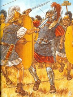 The Battle of Pharsalus, 48 BC. The Centurion Caius Crastinus is killed by a sword thrust through the mouth by a legionary in Pompey's army.