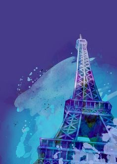 Eiffel Tower - Original Art Print - World Landmark - water color - 5 x 7 - Archival paper - great for gifting or personal collection. $20.00, via Etsy.