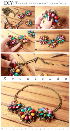 "DIY: ""Statement necklace"" de motivo floral…"