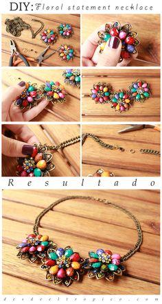 """DIY: """"Statement necklace"""" de motivo floral…"""