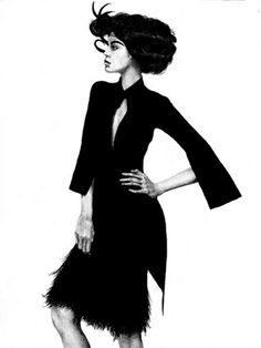 Fashion illustration of a model in a short black dress; black  white fashion drawing // Alex Ceball