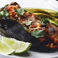Vegetarian and Black Bean Quinoa Stuffed Poblanos Recipe by Tasty Mexican Food Recipes, Vegetarian Recipes, Cooking Recipes, Healthy Recipes, Vegan Meals, Cooking Tips, Dinner Recipes, Stuffed Poblanos, Stuffed Poblano Peppers