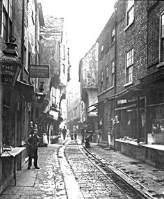 The Shambles, York. Looks like that to this day (minus the chamber pot emptying that occurred around 10pm each night). GARDY LOO! : )