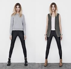 (5a) Ridley Sweat Jumper & Leather Biker Lambskin Trouser - (5b) Tali Sleeveless Blazer & Harrah Pipe Skinny Leather Trouser - AllSaints 2013 Spring April Womens Lookbook