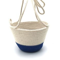 Hanging Planter Royal Blue Blue Block, Work Horses, Cotton Rope, Hanging Planters, Sale Items, In The Heights, Royal Blue, Straw Bag, Decor