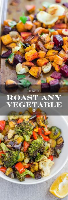 How to Roast ANY Vegetable. Roasted veggies are a healthy, EASY side dish for any kind of dinner or meal. They cook quickly and taste SO GOOD. Heres our guide - a great cooking tip for beginners - to roasting any kind of vegetables your heart desires. Healthy Cooking, Healthy Eating, Cooking Recipes, Cooking Tips, Healthy Food, Cooking Videos, Cooking Games, Cooking Classes, Food Tips
