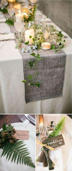 70 New Ideas For Wedding Table Garland Fern Rustic Wedding Decorations, Table Decorations, Wedding Table Garland, Wedding Garlands, Decor Wedding, Wedding Colors, Wedding Flowers, Green Wedding, Spring Wedding
