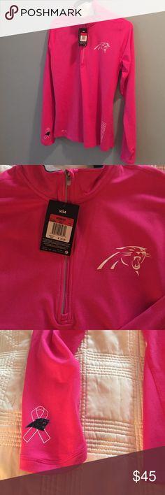 NFL Hot pink Carolina Panthers half zip shirt. NWT - Hot pink breast cancer awareness California Panthers Nike NFL jersey- dri/fit Nike Tops Sweatshirts & Hoodies