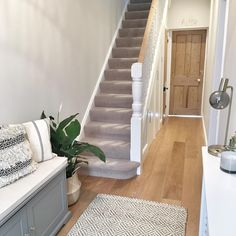 Hallway Decorating 320881542198227279 - A wet and windy day made brighter by the fact it's acceptable to eat pancakes for breakfast, lunch and dinner 🙌🏻 In other news, here's a… Source by deardenboyce Grey Hallway, Front Hallway, Neutral Hallway Paint, Grey Carpet Hallway, Hallway Colours, Living Room Furniture Layout, Living Room Designs, 1930s House Interior Living Rooms, Diy Furniture