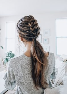 Hair toppers are an easy way to add volume to thinning hair. Human Hair Toppers and Hair Extensions by Tressmerize are extremely comfortable, and unnoticeable. Get your Human Hair Toppers and Hair Extensions today! French Braid Ponytail, Braided Ponytail Hairstyles, Pretty Hairstyles, Wedding Hairstyles, Hairstyle Ideas, Braid Thin Hair, Hair Down Braid, Summer Hairstyles, Braids Into Ponytail